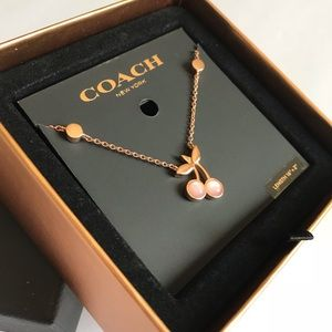 Coach Dainty Rose Gold Cherry necklace nib